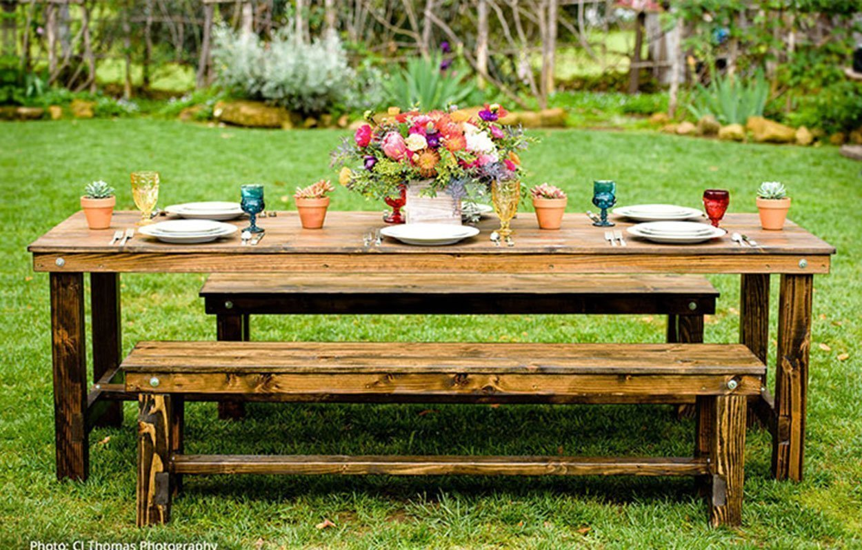 farm table bench rentals san diego