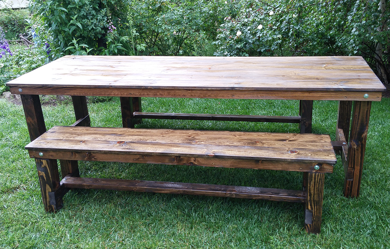 square table pine rental cedar tables events and set bench farm rentals