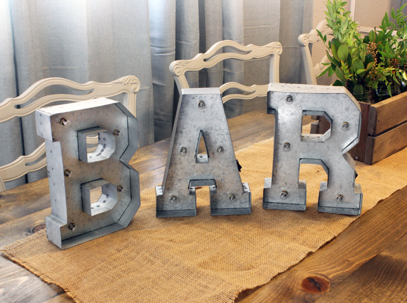 Galvanized Light Up Letter Rental B A R Cedar And Pine