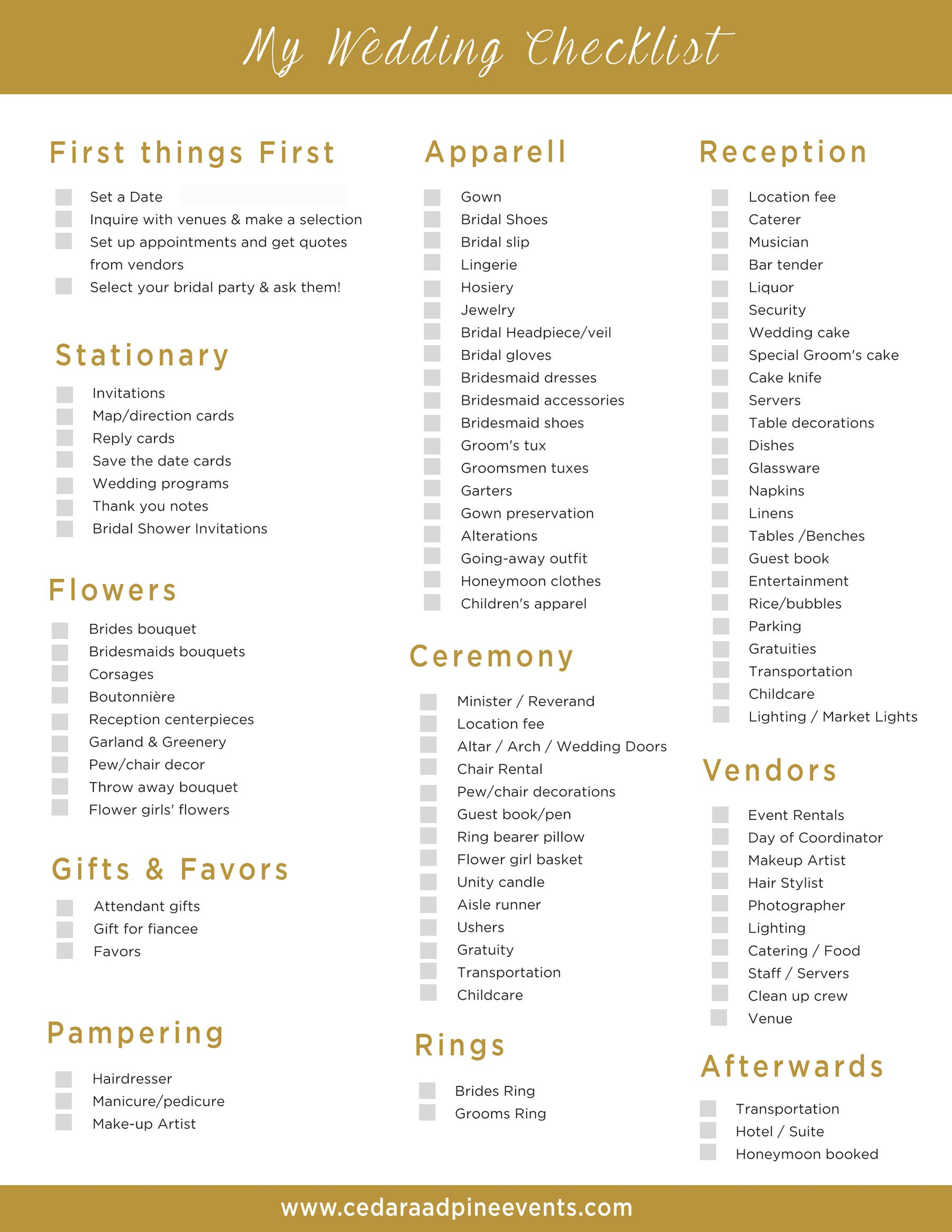 wedding vendor checklist template - free wedding checklist midway media