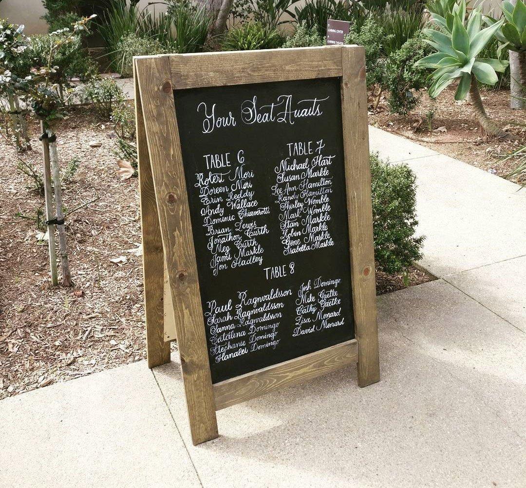 Rustic Wooden Folding Chalkboard Rental San Diego