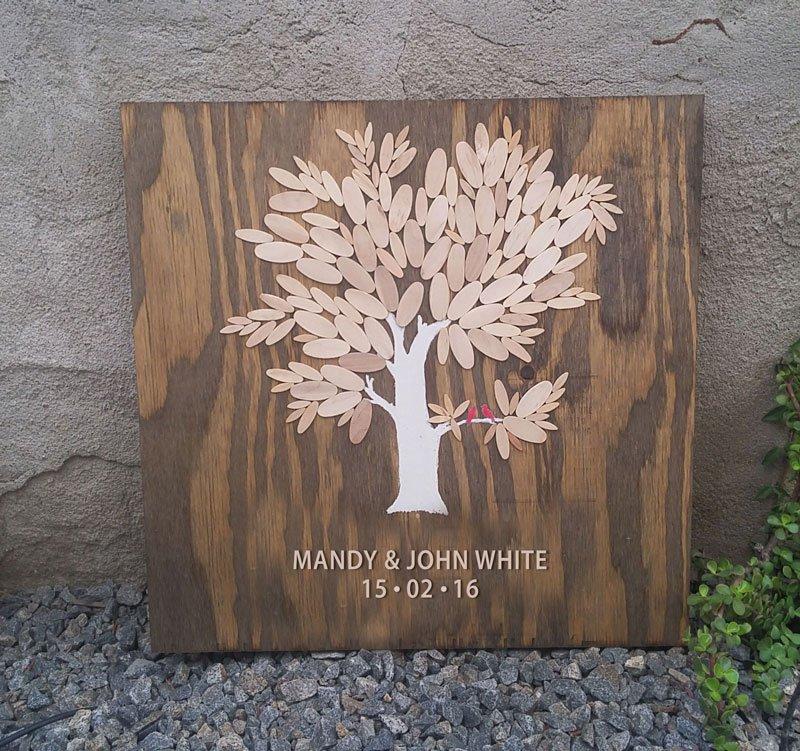 Custom Wood Thumbprint Tree For Wedding San Diego
