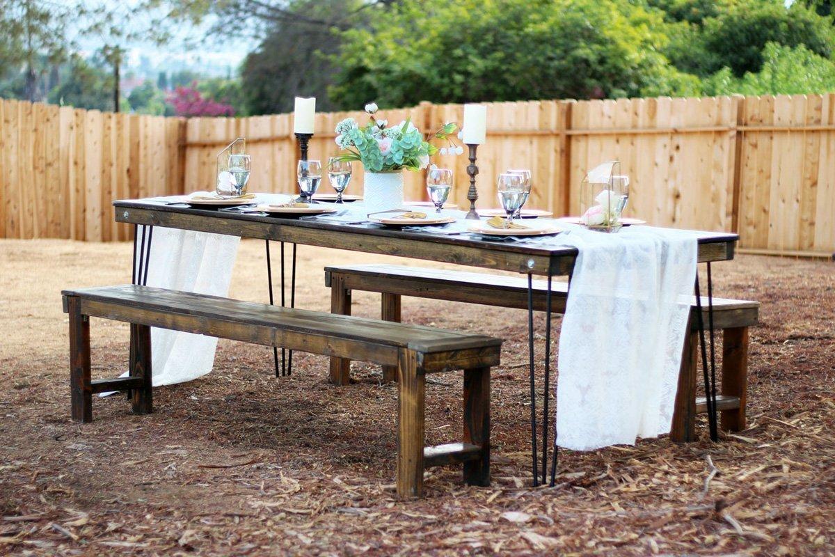 Hairpin leg farm table rentals san diego modern wood for Table rentals