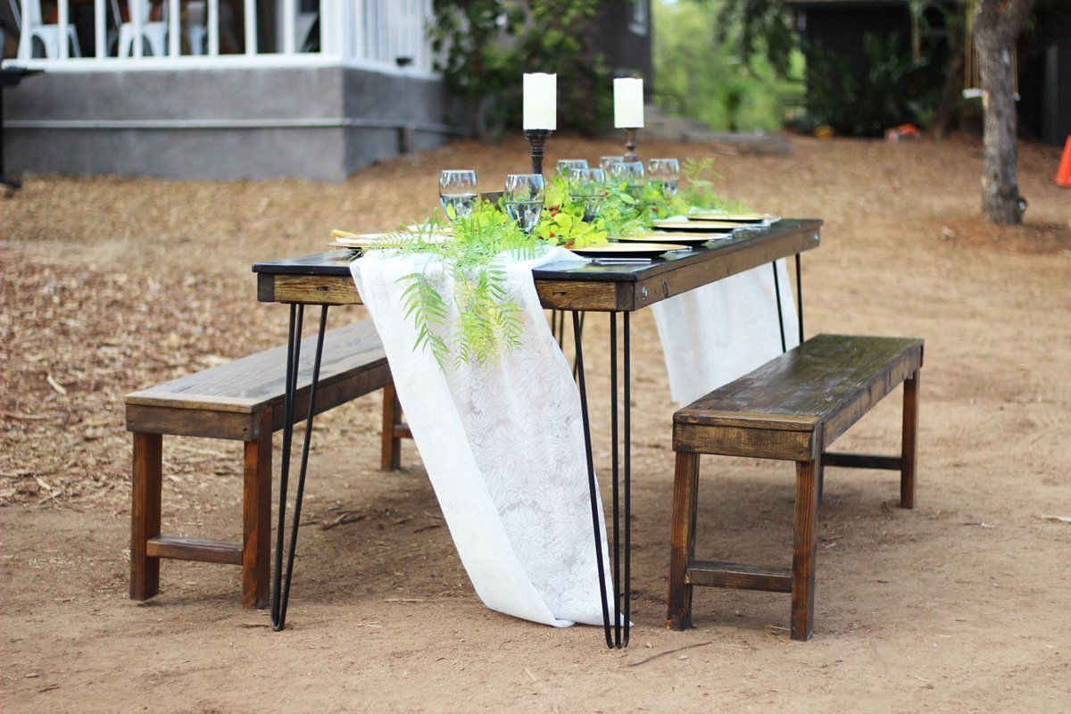 Hairpin leg farm table rentals san diego modern wood for Cocktail tables rental los angeles