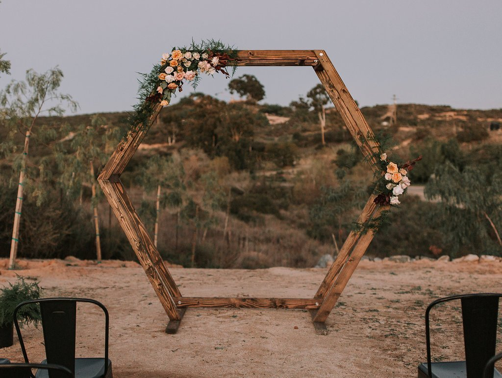 Wood Geometric Ceremony Arch Rental Circle Ceremony Arch