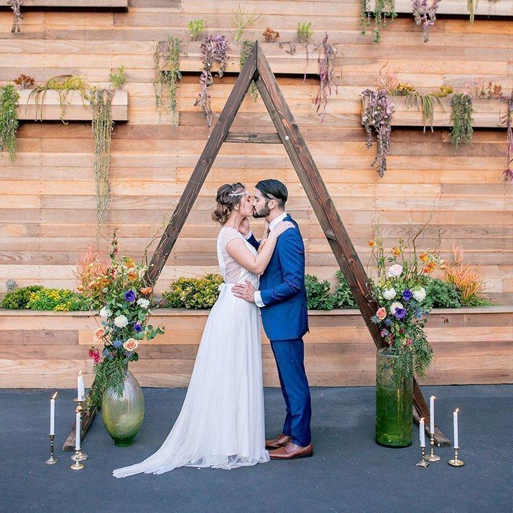Triangle Wedding Arch: San Diego Farm Table Rentals, Bench Rentals, Ceremony Arch
