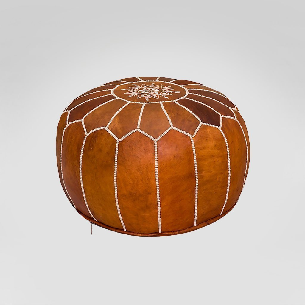 brown moroccan bohemian pouf rental