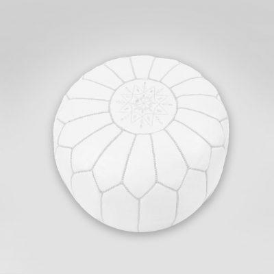 white moroccan bohemian pouf rental